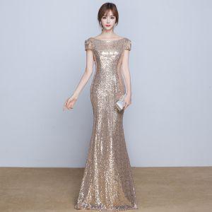 Glitzernden Festliche Kleider 2017 Abendkleider Gold Pailletten Mermaid Lange Rundhalsausschnitt Kurze Ärmel Rückenfreies