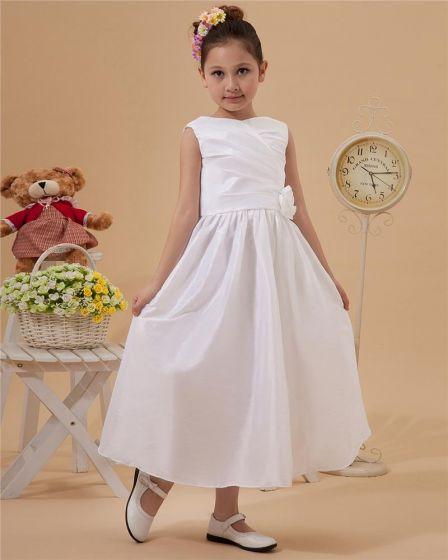 V-Neck Ruffle Taffeta Flower Girl Dress