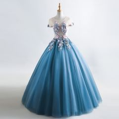 Romantic Ink Blue See-through Prom Dresses 2019 A-Line / Princess Scoop Neck Short Sleeve Appliques Flower Beading Floor-Length / Long Ruffle Backless Formal Dresses