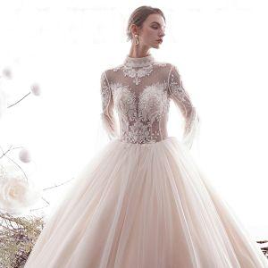 Piękne Szampan 2019 Suknie Ślubne Princessa Wysokiej Szyi Z Koronki Kwiat Frezowanie Kryształ 3/4 Rękawy Bez Pleców Długie