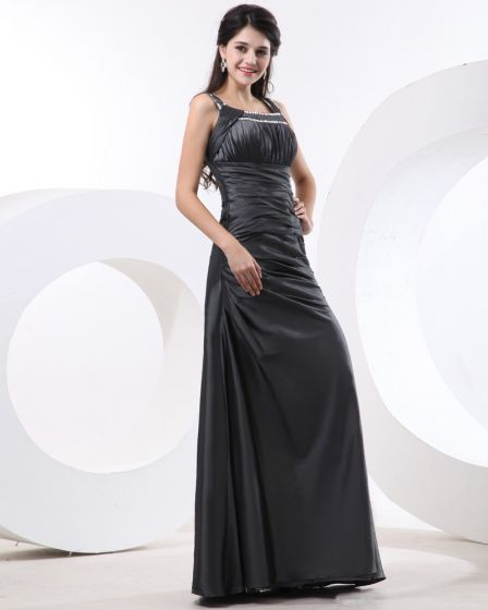 Women Taffeta Shoulder Straps Floor Length Bridesmaid Dresses