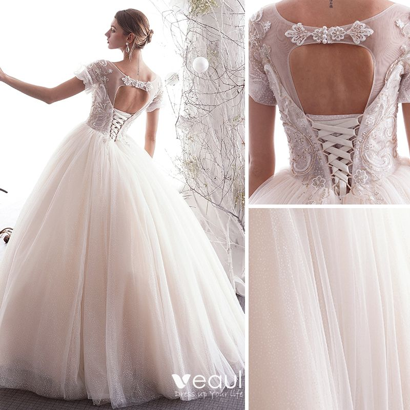 Elegant Champagne Wedding Dresses 2019 A-Line / Princess Scoop Neck Beading Lace Flower Pearl Sequins Short Sleeve Backless Floor-Length / Long