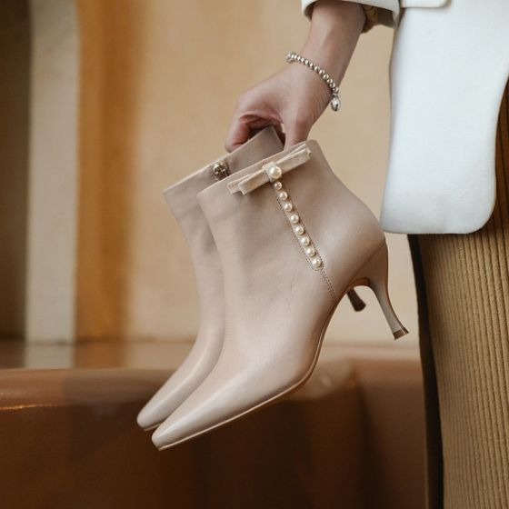 Modest / Simple Beige Casual Ankle Womens Boots 2020 Leather Pearl Bow 7 cm Stiletto Heels Round Toe Boots