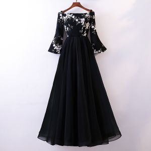 Chic / Beautiful Black Evening Dresses  2018 A-Line / Princess Lace Flower Off-The-Shoulder Long Sleeve Floor-Length / Long Formal Dresses