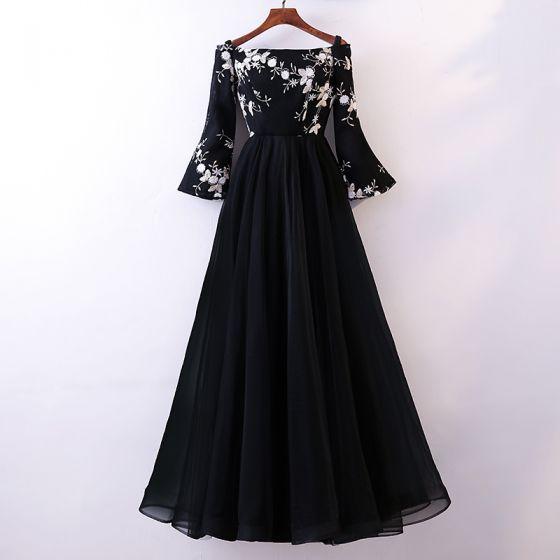 Beautiful Black Long Sleeve Evening Dresses