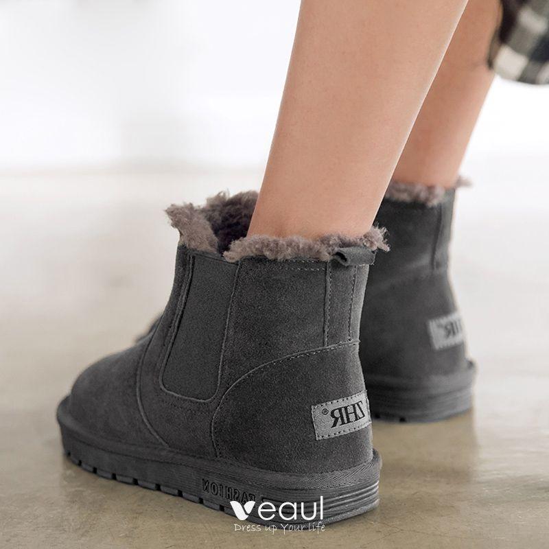 Stylowe Modne Buty Damskie 2017 Czarne Zamszowe Botki Skórzany Przypadkowy Zima Płaskie Snow Boots