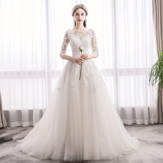 Elegant Ivoire Robe De Mariee 2019 Princesse Encolure Degagee Paillettes En Dentelle Fleur 1 2 Manches Dos Nu Train De Balayage