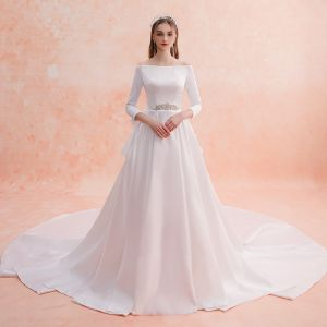 Elegant Ivory Wedding Dresses 2019 A-Line / Princess Off-The-Shoulder Pearl Rhinestone 3/4 Sleeve Backless Bow Royal Train