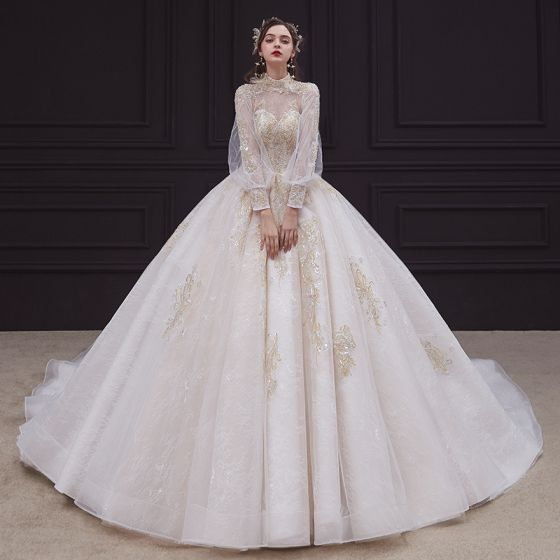 Victorian Style Champagne See-through Bridal Wedding Dresses 2020 Ball Gown High Neck Puffy 3/4 Sleeve Backless Appliques Lace Beading Pearl Cathedral Train Ruffle