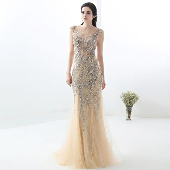 54fd9f73c82 Chic   Beautiful Champagne Evening Dresses 2018 Trumpet   Mermaid Lace  Handmade Beading Crystal Sequins Scoop Neck Sleeveless ...