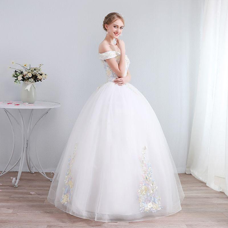 Farbig Ivory / Creme Brautkleider / Hochzeitskleider 2019 A Linie Off Shoulder Kurze Ärmel Rückenfreies Applikationen Spitze Pailletten Perlenstickerei Lange Rüschen