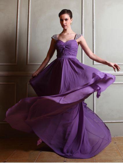 2015 Empire Shoulders Ruffles Sash Sweep Train Chiffon Evening Dress