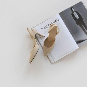 Chic / Beautiful Beige Street Wear Suede Slingbacks Womens Sandals 2020 10 cm Stiletto Heels Pointed Toe Sandals