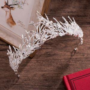 Vintage / Retro Silver Wedding Accessories 2018 Metal Crystal Pearl Rhinestone Tiara