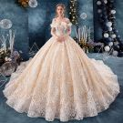 Elegant Champagne Wedding Dresses 2019 Ball Gown Off-The-Shoulder Short Sleeve Backless Appliques Lace Cathedral Train Ruffle