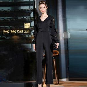 Elegant Black Jumpsuit 2019 V-Neck Lace Long Sleeve Ankle Length Evening Dresses