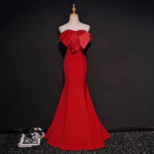 Simple Rouge Robe De Soirée 2018 Trompette / Sirène Amoureux Sans Manches Noeud Tribunal Train Volants Dos Nu Robe De Ceremonie