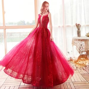 Mode Rouge Robe De Soirée 2020 Princesse épaules Transparentes Col v profond Sans Manches Perlage Paillettes Longue Volants Dos Nu Robe De Ceremonie