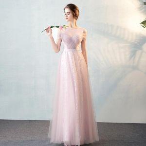 Chic / Belle Rougissant Rose Transparentes Robe De Soirée 2018 Princesse Encolure Dégagée Bustier Manches Courtes Ceinture Longue Volants Robe De Ceremonie