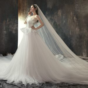 Stijlvolle Ivoor Trouwjurken 2019 Prinses Strapless Mouwloos Ruglooze Appliques Kant Cathedral Train Ruche