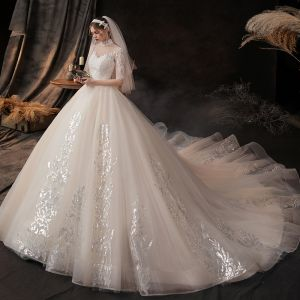 Vintage / Retro Champagne See-through Bridal Wedding Dresses 2020 Ball Gown High Neck Short Sleeve Appliques Lace Beading Chapel Train Ruffle
