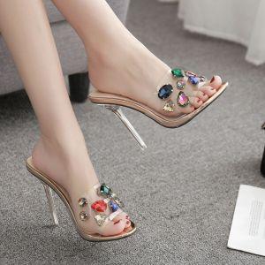 Transparent Champagne Désinvolte Faux Diamant Sandales Femme 2020 11 cm Talons Aiguilles Peep Toes / Bout Ouvert Sandales