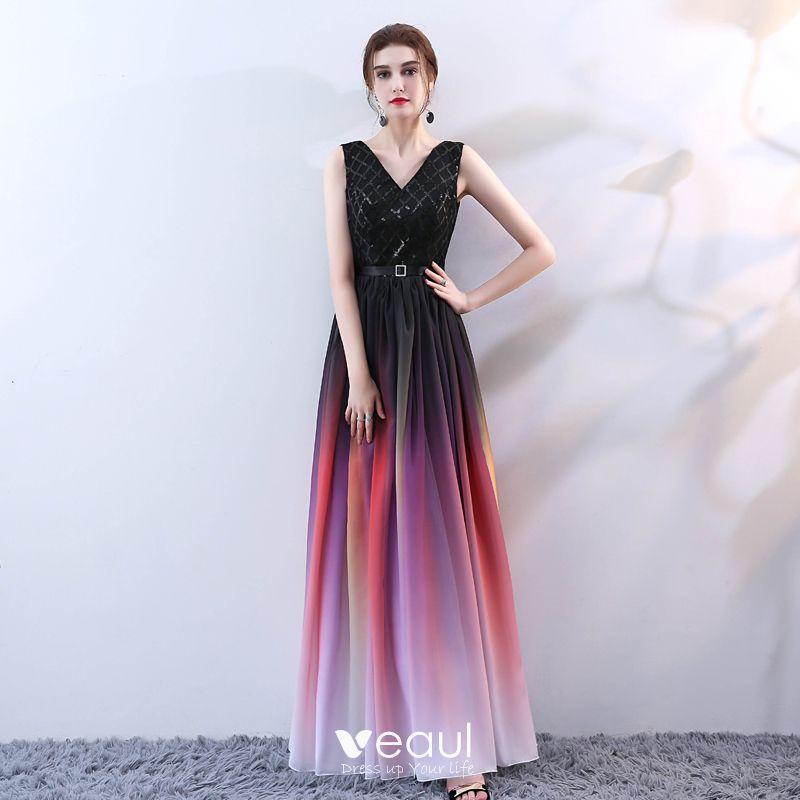 Moda Multi Colors Largos Vestidos De Noche 2018 A Line Princess V Cuello Tul Sin Espalda Rebordear Lentejuelas Noche Vestidos Formales