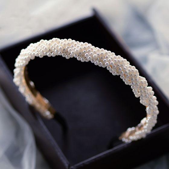 Eleganta Elfenben Pärla Hair Hoop Brud Huvudbonad 2020 Hårsmycken Bröllop Tillbehör