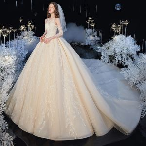 High-end Champagne See-through Bridal Wedding Dresses 2020 Ball Gown Scoop Neck 3/4 Sleeve Backless Leaf Appliques Lace Beading Glitter Tulle Cathedral Train Ruffle