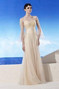 Strapless Neckline Bell Sleeve Floor Length Beading Charmeuse Empire Woman Evening Dress