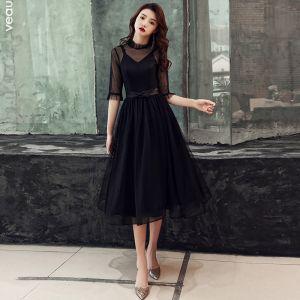 Vintage / Retro Black See-through Homecoming Graduation Dresses 2019 A-Line / Princess High Neck 1/2 Sleeves Bow Sash Tea-length Ruffle Formal Dresses