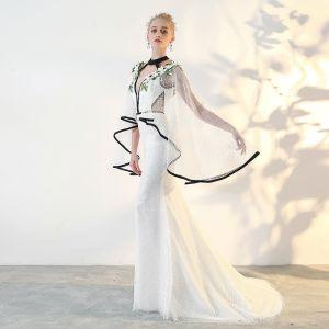 Elegant Ivory Evening Dresses  2018 Trumpet / Mermaid Lace Appliques Halter Backless Long Sleeve Court Train Formal Dresses
