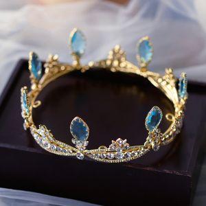 Sjarmerende Gull Tiara Har Tilbehor 2020 Legering Rhinestone Bryllup Tilbehør