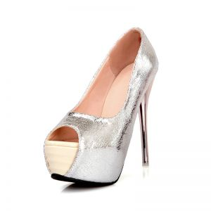 Sliver Roman Patent Leather Stiletto Heels / Pumps Fashion Shoes