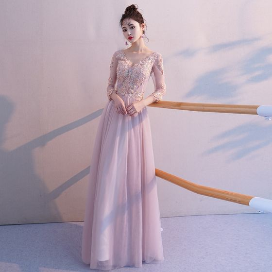 Eleganckie Rumieniąc Różowy Przezroczyste Sukienki Wieczorowe 2019 Princessa V-Szyja 3/4 Rękawy Aplikacje Z Koronki Frezowanie Długie Wzburzyć Bez Pleców Sukienki Wizytowe