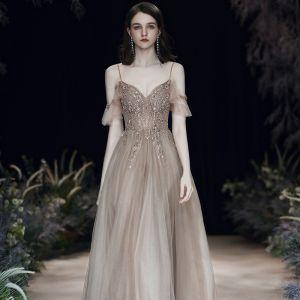 Fashion Brown Evening Dresses  2020 A-Line / Princess Spaghetti Straps Beading Rhinestone Sequins Sleeveless Backless Floor-Length / Long Formal Dresses