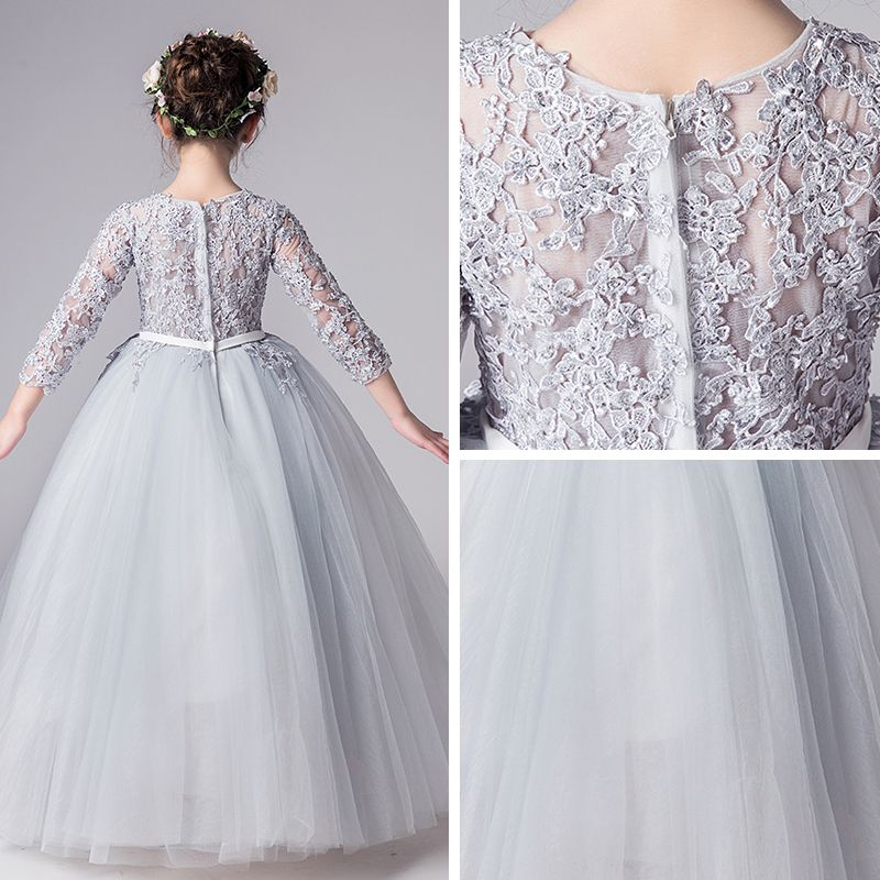 Illusion Grey Flower Girl Dresses 2019 Ball Gown Scoop Neck 3/4 Sleeve Pierced Appliques Lace Bow Sash Floor-Length / Long Ruffle Wedding Party Dresses