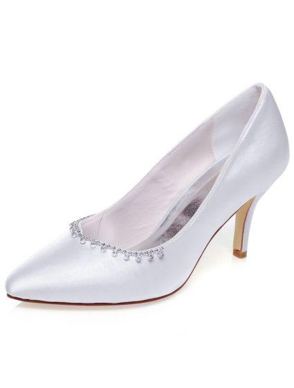 Klassische Satin Hochzeitsschuhe Weiss Pumps 8cm High Heel
