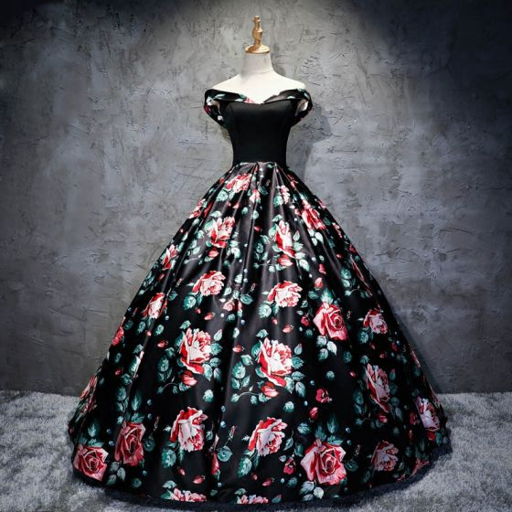 Chic / Beautiful Black Prom Dresses 2017 A-Line / Princess Strapless Backless Printing Evening Party Evening Dresses