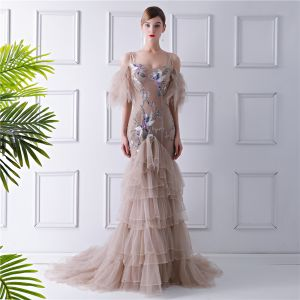 Glamorous Tan Evening Dresses  2019 Trumpet / Mermaid Spaghetti Straps Puffy Short Sleeve Beading Embroidered Court Train Cascading Ruffles Backless Formal Dresses