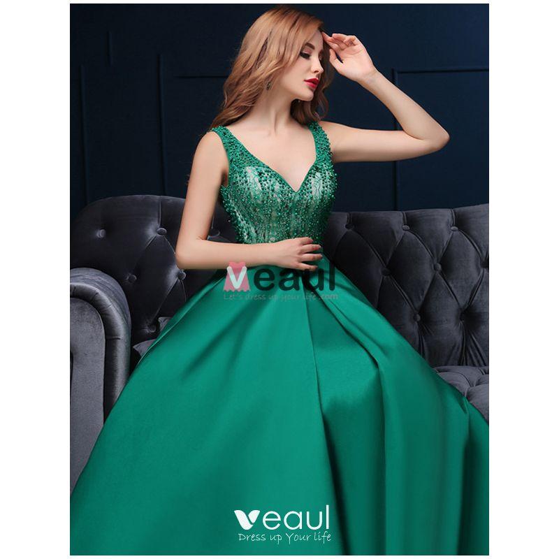 2016 Deep V-neck Beaded Lace Backless Dark Green Satin