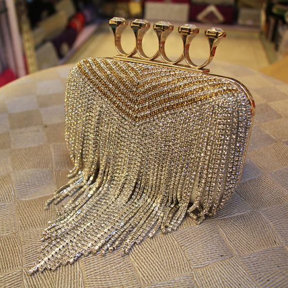 Fashion Silver Square Clutch Bags 2020 Metal Rhinestone Tassel