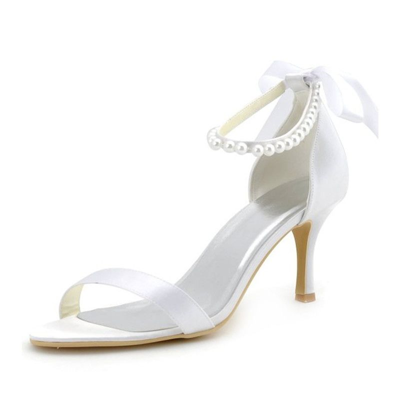 Chic Satin Bridal Sandals With Ankle Strap 3 Inch High Heels Stiletto Heels Pumps
