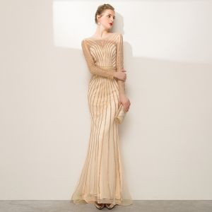 High-end Champagne Rhinestone Evening Dresses  2020 Trumpet / Mermaid Scoop Neck Long Sleeve Floor-Length / Long Formal Dresses