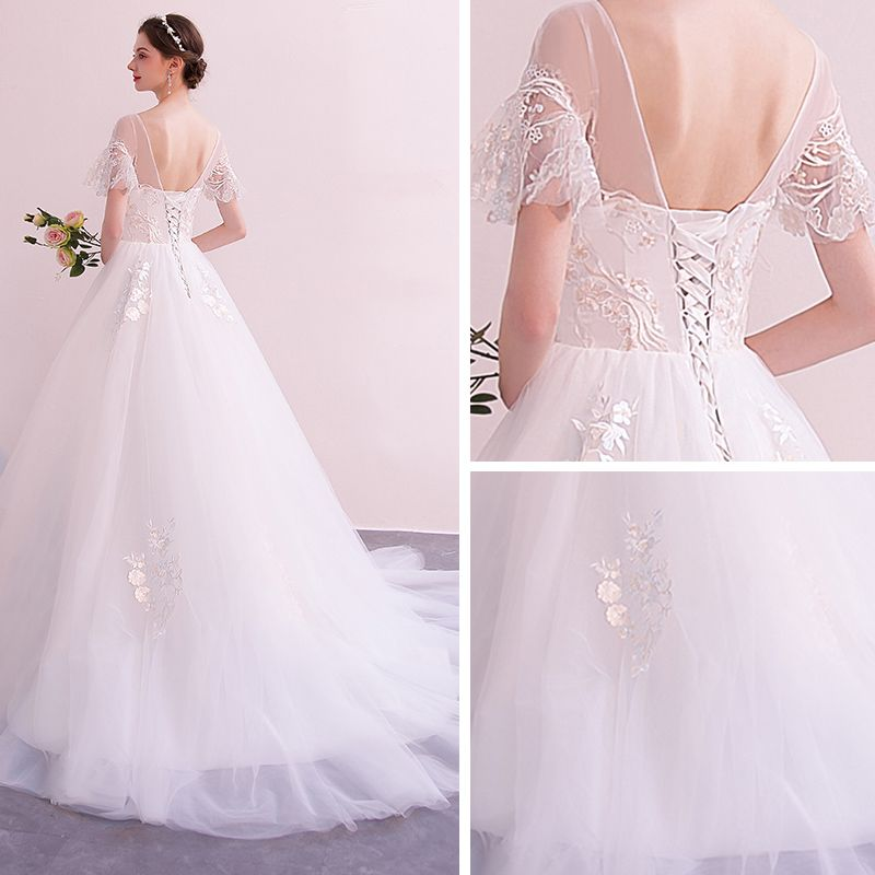 Affordable Ivory See-through Wedding Dresses 2019 A-Line / Princess Scoop Neck Short Sleeve Backless Appliques Lace Court Train