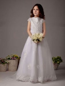 White Short Sleeves Lace And Embroidery Beading Satin Flower Girl Dress