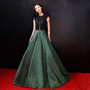 Luxus / Herrlich Grün Abendkleider 2018 A Linie Spitze Rückenfreies Durchbohrt Lange Abend Festliche Kleider