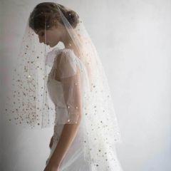 Mooie / Prachtige Witte Bruidssluier 2020 Tule Korte Ster Pailletten Huwelijk Accessoires