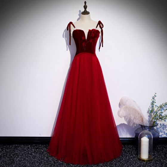 Chic / Beautiful Red Evening Dresses  2020 A-Line / Princess Spaghetti Straps Sleeveless Appliques Flower Beading Floor-Length / Long Ruffle Backless Formal Dresses