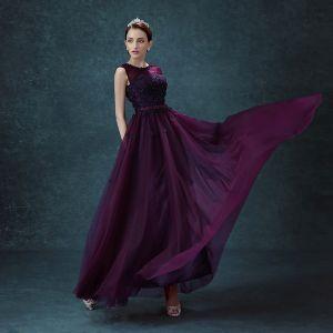 Chic / Beautiful Grape Bridesmaid Dresses 2018 A-Line / Princess Bow Flower Scoop Neck Backless Sleeveless Floor-Length / Long Wedding Party Dresses